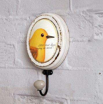 Crochet Mural Vintage Design Decoratif Porte Clés Original Oiseau imprimé à la Main Art