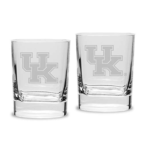 NCAA Kentucky Wildcats Luigi Bormioli Square Round Double Old Fashion Glass - Set of 2, Clear, 11.75 oz Square Double Old Fashioned