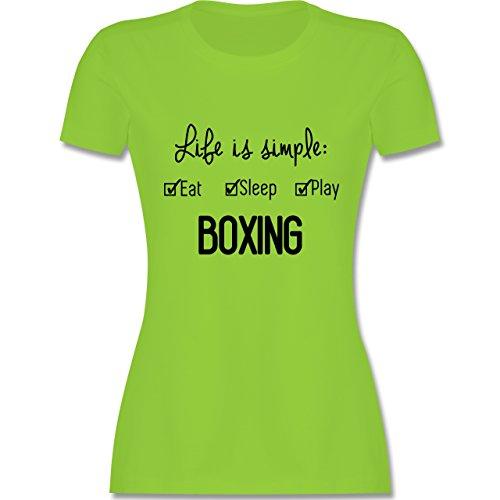 Kampfsport - Life is simple Boxing - tailliertes Premium T-Shirt mit Rundhalsausschnitt für Damen Hellgrün