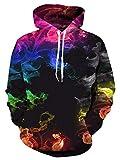 LFNBOOSE Kapuzenpullover Unisex Neutral 3D Wolle Hoodie Herren All Over Hoodie Junge Mädchen 3D Sweatshirt Winter Pullover Hoodie Fancy Sweatshirt-Farbiger Rauch_M