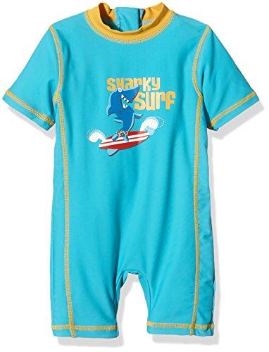"Aquatinto Baby - Jungen Badeanzug ""Sharky Surf"", UV +50, Gr. 86 (Herstellergröße: 86/92), Mehrfarbig (türkis/orange)"