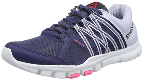 Reebok Yourflex Trainette 8.0, Scarpe Sportive Indoor Donna Blu (Blue ink/Lucid LILAC/WHITE/Posionpink)