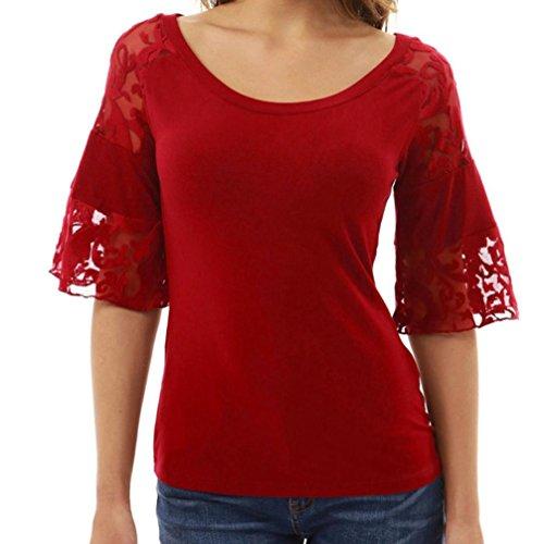 Bekleidung Hffan Frauen Casual Reizvolle Bluse Vintage Langshirt Halbe Hülse Spitze T-Shirt Sommer Herbst Blumen Gedruckt Lace Oberteile Damen Chic Top Mode Hemd Festlich Crops Top (Rot, M) (Lace Top Gedruckt)