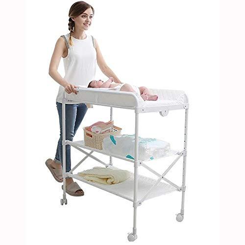 HANSHAN Wickeltische Wickeltische, Babypflege-Tisch Neugeborener Badetisch Berührbarer Faltbarer Massagetisch Weiß 0-4 Jahre Alt