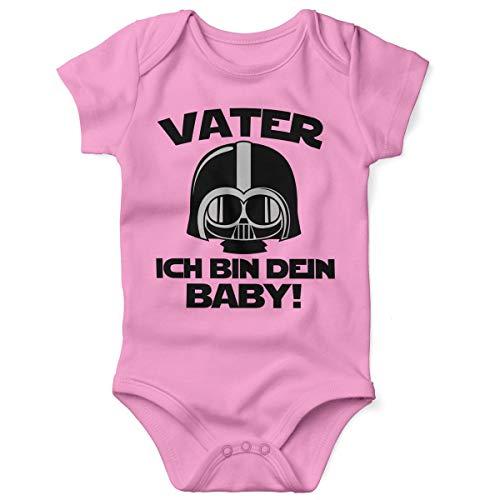 Mikalino Babybody mit Spruch für Jungen Mädchen Unisex Kurzarm Vater - ich Bin Dein Baby! | handbedruckt in Deutschland | Handmade with Love, Farbe:rosa, Grösse:74 (Star Für Baby Wars-halloween-kostüm)
