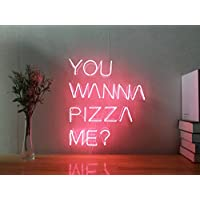 You Wanna Pizza Me Real Glass Neon Sign For Bedroom Garage Bar Man Cave Room Home Decor Personalised Handmade Artwork Visual Art Dimmable Wall Lighting Includes Dimmer