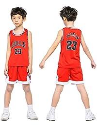 Daoseng Chico Niño NBA Michael Jordan   23 Chicago Bulls Retro Pantalones  Cortos de Baloncesto Camisetas de Verano Uniformes y Tops de… 258d570da4085