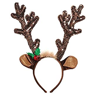 FORLADY Diadema de Navidad Cabello Aro Campanas Suministros de Navidad Decoración de Navidad Franela Franja de Navidad Asta