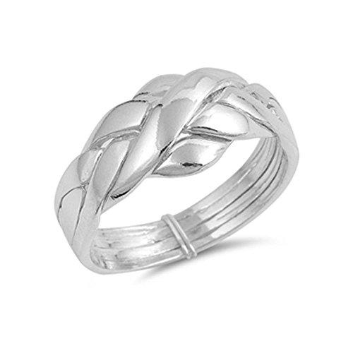 Anillo del sultán o sultana, alianza turca de 4 aros, anillo rompecabezas de plata de ley