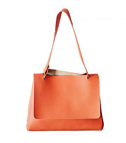 Wealsex Sac à main Bandoulière Cuir Souple Epaule Sac Fourre tout OL Pour Shopping Travail Elégant Mode Taille 39 * 35 * 28 CM Femme orange