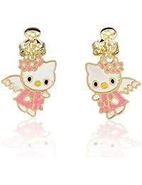 4a00db663604 Pendientes infantiles de Hello Kitty bañados en oro amarillo y esmalte rosa