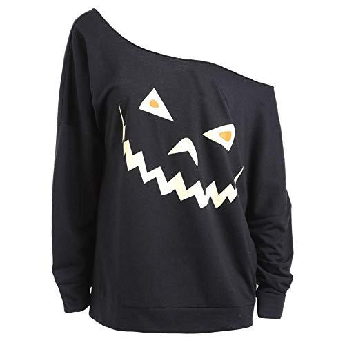 Briskorry Halloween Damen Kostüm Langarmshirt Geist Gedruckt Pullover Tops Bluse Aus Schulter Oberteile Sweatshirts