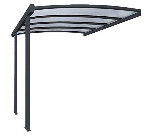 Pergola en aluminium cintrée adossée toiture en polycarbonate 16 mm avec gouttière 4x3,5m grise