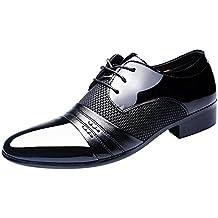 Juleya Hombre Negocio Zapatos Formal Zapatos con Cordones Boda Vestir Zapatos Casual PU Cuero Zapatos 39-48