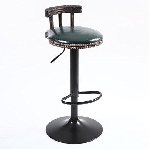 CGN Bar Chaises, tables et chaises Tabouret haut Bois massif Retro Imitation Métal Mode Rotation classique de levage Café Bar Club H75cm-95cm la satisfaction (Couleur : C)