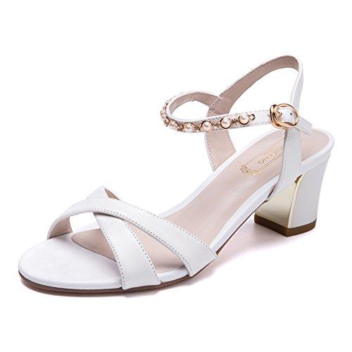 Sommer Damen Mode Sandalen komfortable High Heels White