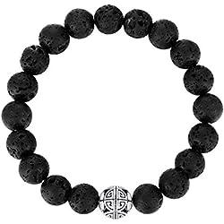 8mm Pierres précieuses naturelles de guérison MetJakt avec Crystal Bangle Bracelet en perles avec pendentif en Argent Pendentif Double Happiness (lave)