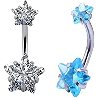 Yellow Chimes Stylish Stainless Steel Navel Piercing Jewelry Set of 2 Flower Crystal Belly Button Rings for Women and…