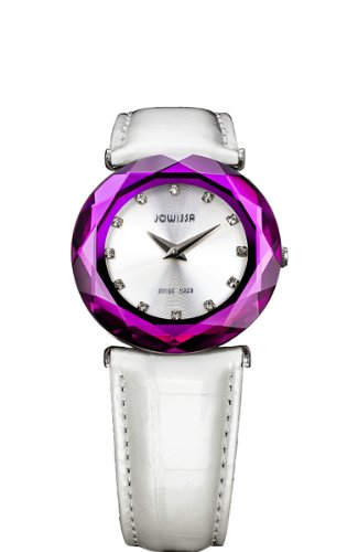 Jowissa Women's J1.011.M Safira 99 Silver Dial Purple Faceted Sapphire Bezel Watch