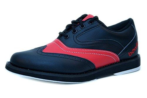 Bowlingschuhe - Bowlio Strike Red - aus Leder mit Microfasersohle, Größe:36, Farbe:Rot/Schwarz