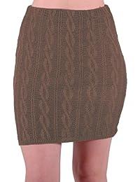 EyeCatch - Ren Damen warmer Strick stretch Rock im Geflochten Design Einheitsgröße