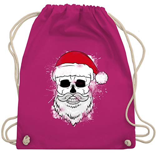 Weihnachten & Silvester - Totenkopf mit Weihnachtsmütze und Bart - Unisize - Fuchsia - WM110 - Turnbeutel & Gym Bag -
