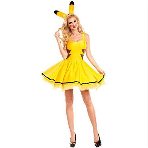 Pikachu Sexy Kostüm - Halloween Pikachu Kostüm, Damen Sexy Cosplay Bühnenkostüm,L