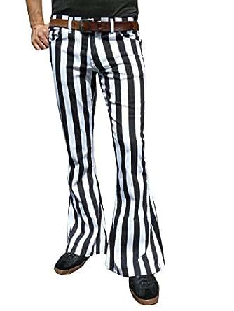 hommes pattes d 39 l phant fus es noir et blanc rayure jeans pantalon v tements et. Black Bedroom Furniture Sets. Home Design Ideas