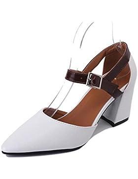 individual femenino señaló zapatos de verano zapatos retro palabra hueca hebilla gruesa con los zapatos de tacón...