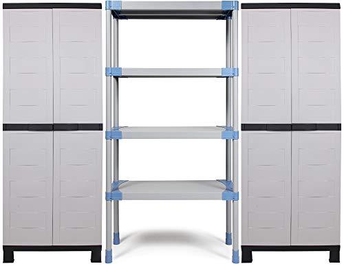 Ondis24 Kunststoffregal MAXI, Schwerlastregal Set 222 x 40 x 175 (H) cm, mit 2x Prestige Schrank, Wandregal mit 4 Einlegeböden, Steckregal 4 x 90kg belastbar, mit Wandhalterung