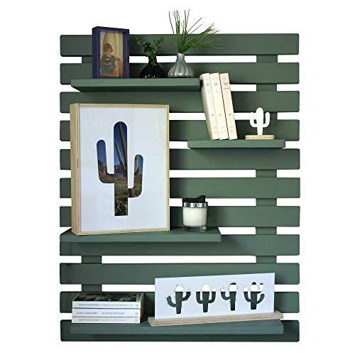 Liza linea decorativa in legno, mensola, scaffale, libreria. Stoccaggio unità display con 4mensole. Solido legno nordico-101x 80x 21cm Khaki Green