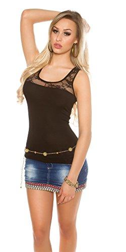Damen Tank Top Shirt Sommertop Ringertop Dekoletté mit Spitze figurbetont ärmellos Schwarz