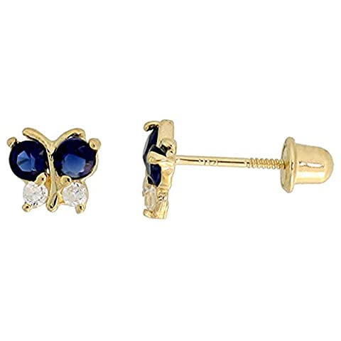 14K Or jaune 3/40,6cm (5mm) Hauteur Petit Papillon Boucles d'oreilles clous, W/Taille brillant Transparent & Bleu sapphire-colored CZ