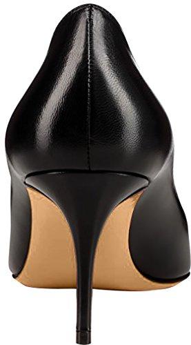 ELEHOT Femme 12cm Taille EU 34-46 Elenow Aiguille 12CM Synthétique Escarpins noir Matte-7cm