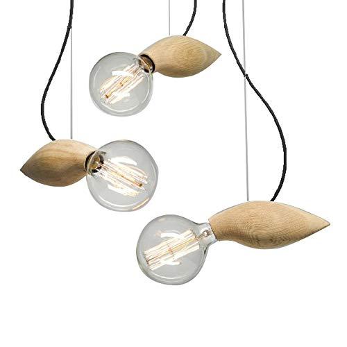 Moddeny Moderne einfache Holz Hängelampe Leuchte Nordic kreative Eiche Holz Pendelleuchte Wohnzimmer Schlafzimmer Cafe Restaurant einstellbare Decke Droplight E27 (Größe : 3-Light)