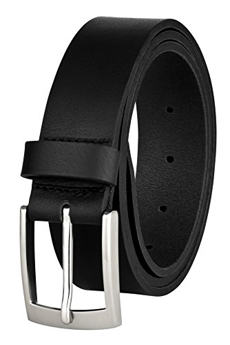 Ledergürtel von MACOSTA, Freizeit und Business Gürtel aus echtem Leder (100 cm, Schwarz)