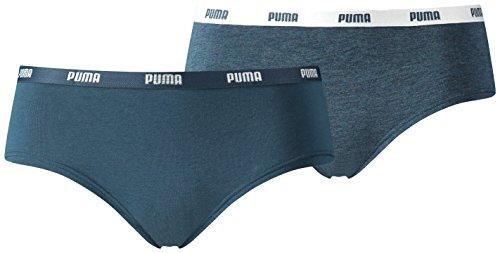 Puma Damen Unterwäsche Iconic Hipster 2P, Blau (Dark Denim), M