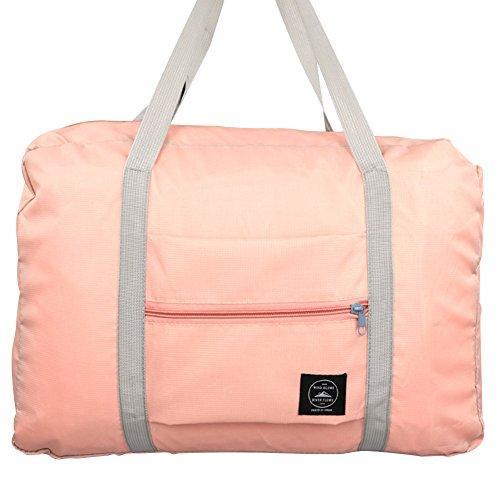 Faltbar Reisetasche Reisegepäck Aufbewahrungstasche Organizer Handgepäck Schultertasche Wasserdicht (Weinrot) Pink
