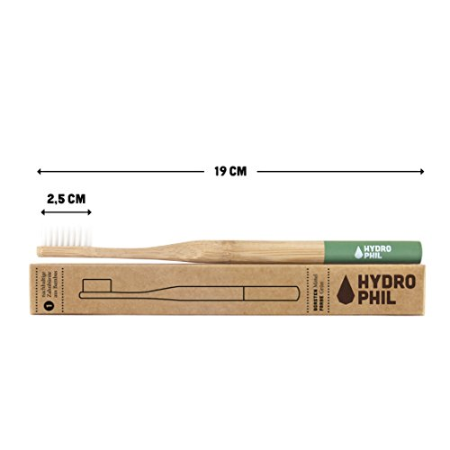HYDROPHIL nachhaltige Zahnbürste aus Bambus grün 4er Pack mittelweich mittel weich - 2