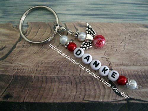 Handmade Schlüsselanhänger, Taschenanhänger Danke in Rot/Weiß mit Schutzengel- Text ist individualisierbar mit Wunschwort oder Namen