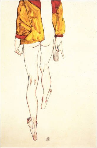 Leinwandbild 40 x 60 cm: Stehender Halbtakt mit braunem Hemd von Egon Schiele - fertiges Wandbild, Bild auf Keilrahmen, Fertigbild auf echter Leinwand, Leinwanddruck