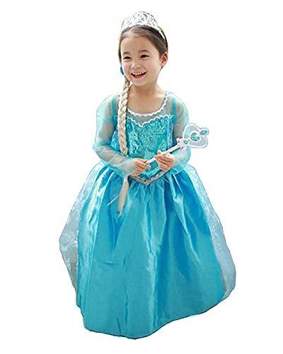 Grouptap Lust auf Gefrorene Blaue Prinzessin Fieber ELSA Mädchen Kinder Party Dress Up Kleid Tanzkostüm 3-5 5-6 7-8 9-10 11-12 Jahre alt Kinder (Blau, 130-150 cm/Alter 9-12)