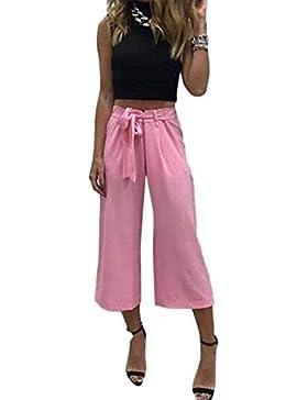 Mujer Pantalones Palazzo Fashion Unicolor Cintura Alta con Cinturón Anchas Elegantes Pantalones De Tiempo Libre...