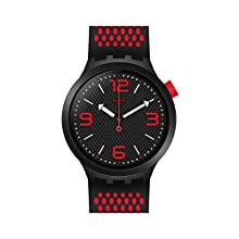 Swatch Mens Analogue Quartz Watch with Silicone Strap SO27B102