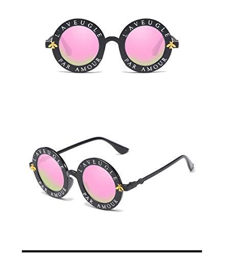 Wang-RX Retro runde Dame Sunglasses English Letter Bees Men Luxus Farbe Travel Travel Goggle Uv400