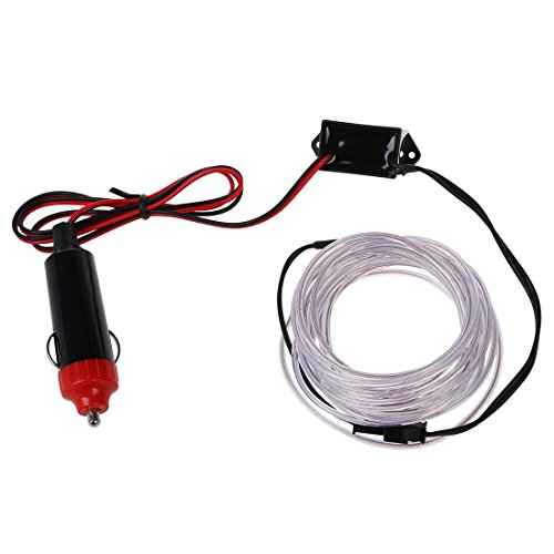 SODIAL Parti LED Car Light (R) 3M EL flexible Fil Neon Corde Tube + 12V Onduleur - Blanc