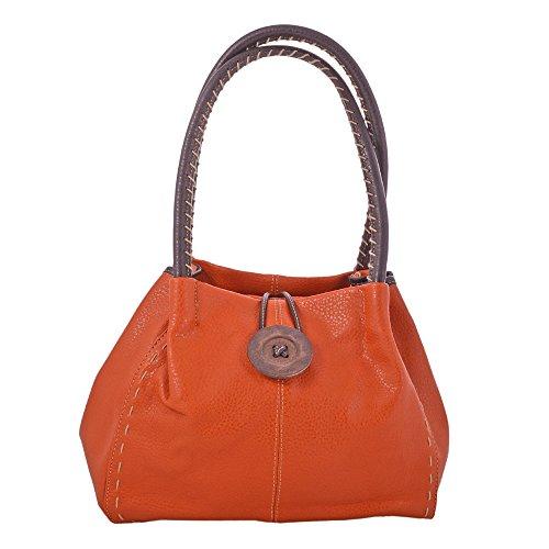 LeahWard® Damen Mode Essener Qualität Kunstleder Wood Taste Schultertasche Damen Stunning Flexible Handtasche CWRX140731 CWRS14131 Orange