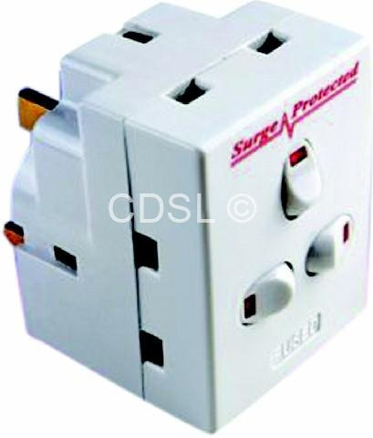 3 way switched surge protected 13A adaptor 3 gang UK mains plug-in adapter with NEON switches by CT -