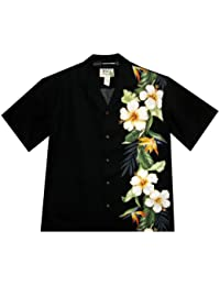 KY's| Chemise Hawaïenne D'Origine | Pour Hommes | S - 8XL | Manche Courte | Poche Avant | Hawaiian-Imprimer | Fleurs | Noir