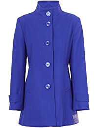 1233313fe6a Busy Clothing Womens Royal Blue High Neck Wool Blend Coat